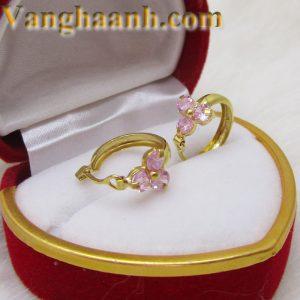 Khuyên tai vàng tây đá hồng-1